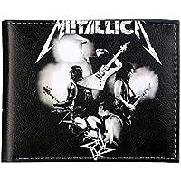 Panduo Billetera Cartera clásica de Heavy Metal Band Cartera Metallica Cartera de Titular de Tarjeta de crédito for Hombres Cartera Doble de identificación en Efectivo, Tarjetas fáciles de Llevar