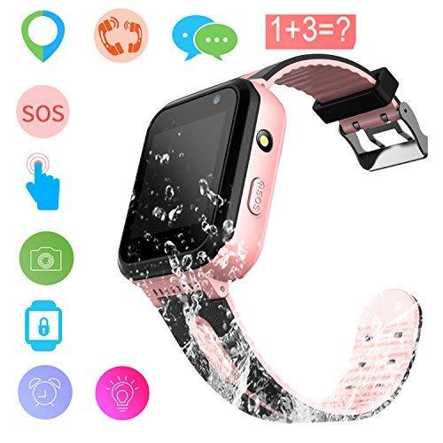 Reloj Inteligente para niños Rastreador de GPS a Prueba de Agua - Reloj Infantil Reloj Digital Reloj Despertador SOS Cámara Reloj con Linterna Teléfono para niños de 3 a 12 años (S7 Pink)