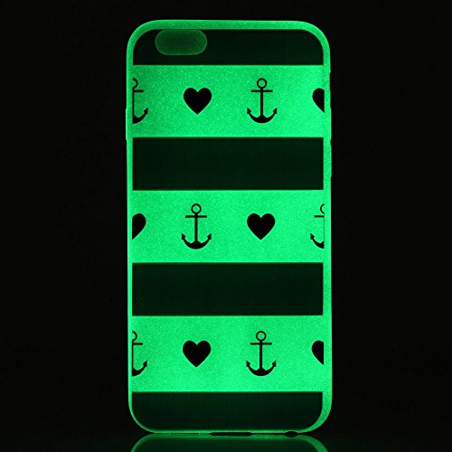 Coque pour iPhone 6, iPhone 6 Noctilucent Silicone Coque Slim Transparent Housse, iPhone 6s TPU Coque Souple Etui, iPhone 6 / 6s Silicone Case Soft Cover, Ukayfe Etui de Protection Cas en caoutchouc e ancre questionnaire