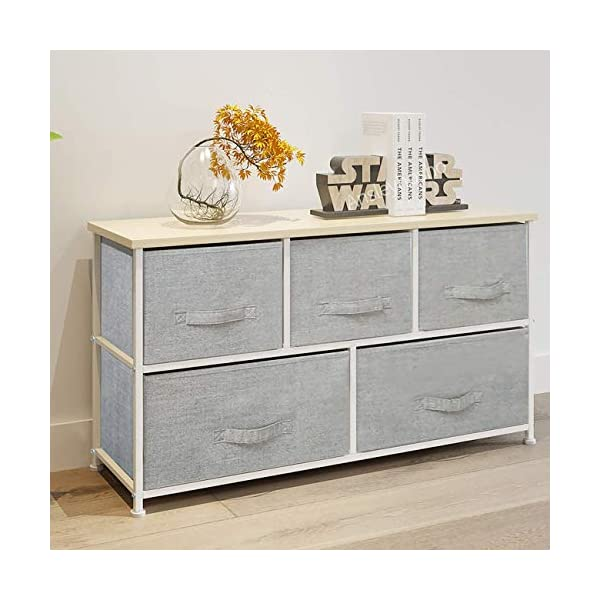 QIHANG-UK Bedroom Wardrobe Dresser Low Chest of Drawers Cabinet Fabric Nursery Storage Organizer Unit with 5 Drawers Storage Box for Children Toys Clothes Home Furniture Hallway 100 * 29*H55cm(7003) QIHANG-UK Product dimensions: W100cm*D29cm*H55cm Material: 18mm Wood Board + Metal Frame + Grey Fabric Drawer with Handle Utility Storage Unit: this chest of drawers will help on improving the efficiency of space usage, make it easier for you to classify and storage stuff, it is suitable for both personal and family use 2