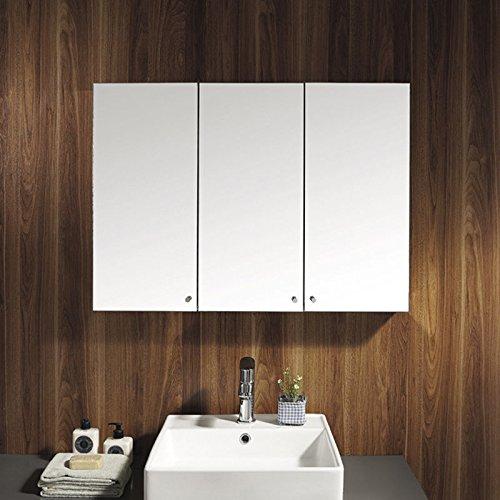 UEnjoy Stainless Steel Wall Mounted Storage Bathroom Cabinet Mirror Triple Door
