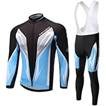 Skysper Hombres Jersey Pantalones Largos Mangas Largas de Ciclismo Ropa Maillot para Deportes al aire libre Ciclo Bicicleta