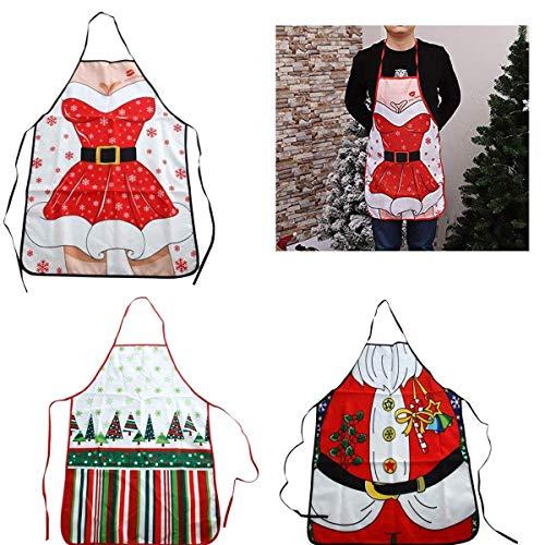 QILICZ Weihnachten küche schürze, 3er schürze Frau und Mann Weihnachtskostüm Küchenschürzen Kochen lustige BBQ Weihnachten Party Schürze Backen Barbequing