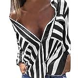 Kanpola Oversize Plaid Blouses, Women Casual Sexy V Neck Stripe Long Sleeve Shirts Loose Shirt Tops (14, Black)
