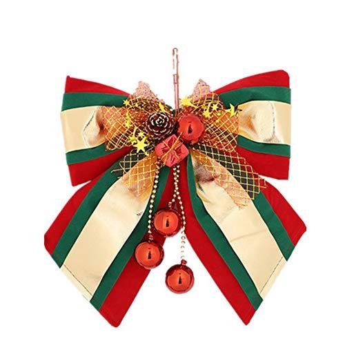 Hemore Christbaumschmuck Weihnachtsdeko Weihnachtsdekoration Pinecone Bow Weihnachtsbaum Anhänger Große Tri-Color 1 Pack für Weihnachtsbaum Dekoration, Party, Weihnachten - 1 Pack Tri-color