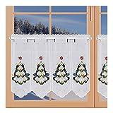 artex deko Edle Winter-Scheibengardine Tannenbaum mit Kerzen Weihnachts-Panneaux aus Plauener Spitze auf weißem Batist