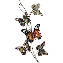 Large Bright Mulicoloured Butterfly Metal Wall Art 74cm x 34cm
