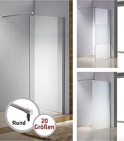 CLP Edelstahl-Duschabtrennung, NANO Glas, Haltestange: RUND (bis zu 3 Glasfarben und 20 Größen wählbar) klarglas, 80x200x100