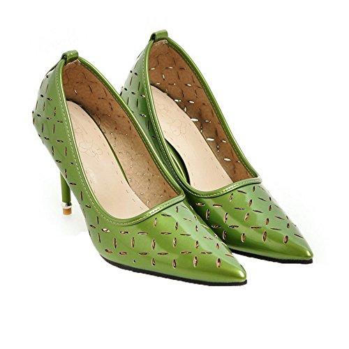 VogueZone009 Donna Puro Pelle di Maiale Tacco Alto Scarpe A Punta Tirare Ballerine Verde