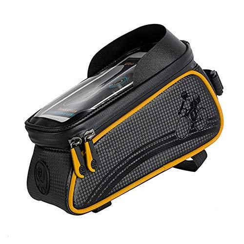 WYYJXZ Anteriore del Fascio Sacchetto Touch Screen Impermeabile della Bicicletta, con Visiera del Telefono Mobile del Sacchetto della Staffa Bagagli, per Semovente Veicoli Fuoristrada,Giallo