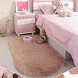 Hinmay Schlafzimmer Vorleger, Soft oval Decke dicker Samt Home Decor Teppich für Wohnzimmer Schlafzimmer, 40x 60cm, Light Camel, Free Size