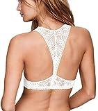 Camellias Damen Lace Spitze Braletter Racerback Gepolstert Bra Bustier Atmungsaktiv Crop Top Unterwäsche,UK-SZ8330-White-XL