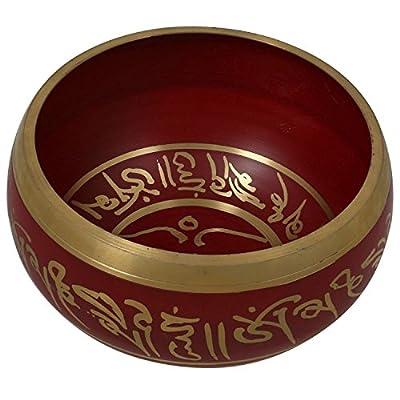 Tibetische Klangschale für Heilung und Yoga rot buddhistischen Dekor 14 CM