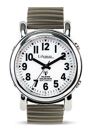 Lifemax Unisex-Armbanduhr Talking Solar Atomic Watch - Expanding Bracelet Analog Edelstahl Silber 430.1E