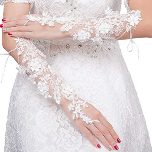BESTOYARD Women's Lace Bride Short Gloves Wrist Costume Prom (White, 16x18x0.5 cm)