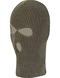 KOMBAT UK WINTER 3 HOLE KNITTED COMBAT TACTICAL MILITARY TYPE BALACLAVA IN OLIVE GREEN