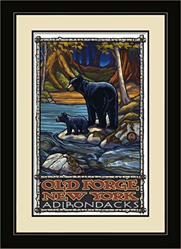 Northwest Art Mall Old Forge New York Adirondack Bears in Stream Gerahmter Art Wand von Paul A. lanquist, 13von 40,6cm