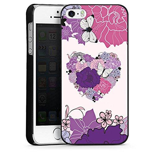 Apple iPhone 4 Housse Étui Silicone Coque Protection C½ur Papillon Fleurs love CasDur noir