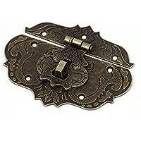 sourcingmap® HOLZKOFFER TRUHE Werkzeugkoffer 86 mm x 65 mm Verschluss-Überfalle und Riegel, bronzefarben