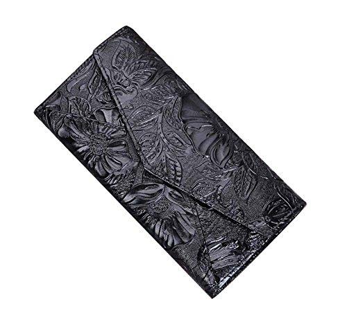 Genda 2Archer Donne adattano il Portafoglio Lungo del Cuoio Borsa da Fiori Sacchetto Cellulare (10.5cm*3cm*20cm) (Nero) Nero