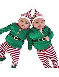 QUICKLYLY 3pcs Navidad Conjuntos de Ropa Para Bebé Niña Niño Manga larga Invierno Mameluco Tops + Pantalones + Sombrero Trajes Ropa