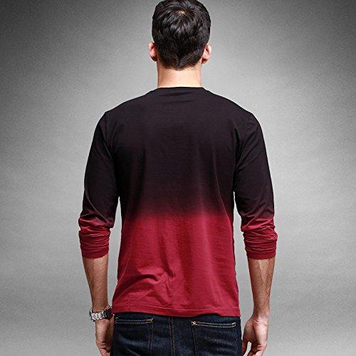 BOMOVO Herren Slim Rund-Ausschnitt Funktionsunterwäsch Langarmshirt Rot