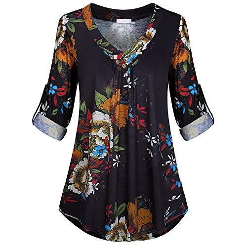 iHENGH Neujahrs Karnevalsaktion Damen Frühling Sommer Top Bluse Bequem Lässig Mode Frauen Blusen Plus Size Langarm Print V Ausschnitt Button Pullover Tops Shirt