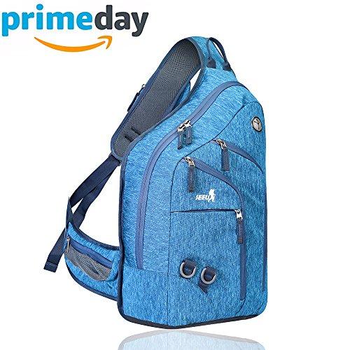 2-FNS Sling Rucksack Schultertaschen Brusttaschen für Damen und Herren Blau