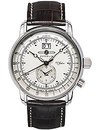 Zeppelin Herren-Armbanduhr Analog Quarz Edelstahl Leder Braun 7640-1