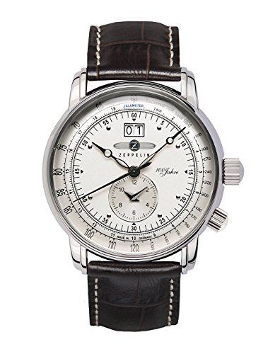Zeppelin-Mens-Quartz-Watch-100-Jahre-Zeppelin-76401-with-Leather-Strap