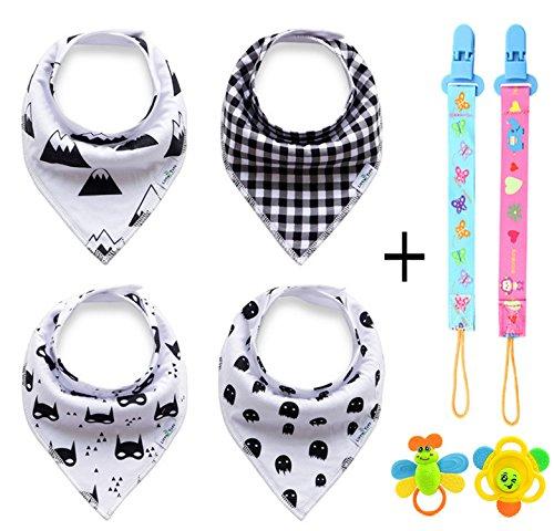 ZZLAY Baby Dreieckstuch Lätzchen Spucktuch Mit Druckknöpfen Multifunctional Set 4-Pack & 2 Zähne Spielzeug, 2 Schnuller Kettenclip