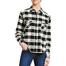 ZANZEA Camisa Blusa a Cuadros Casual Mangas Largas Elegante Oficina Algodón Botón para Mujer