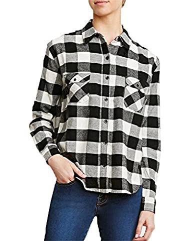 ZANZEA Femme Chemise Manche Longue Carreaux Casual Shirt Blouse Hauts Tops Noir EU 36/ US 4 UK 8