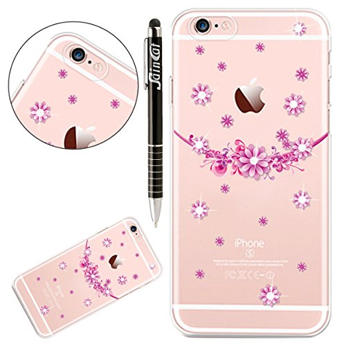 iPhone 7 Hülle,iPhone 7 Silikon Schutz Handy Hülle Kratzfeste Tasche Handyhülle [Mit 1 X Frei Stylus Stift], SainCat iPhone 7 Gel Case Weiche Bling Diamant Schutzhülle Silikon Crystal Clear Case Durch Lila Blüten
