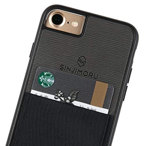 Sinjimoru iPhone 7 Wallet Case, iPhone 7 Hülle mit Kartenfach/iPhone 7 Schutzhülle mit Smart Wallet Kartenhalter. Sinji Pouch Case für iPhone 7, Schwarz. Iphone Wallet Case
