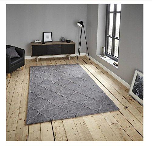 Preisvergleich Produktbild Hong Kong handgetuftet-Gitter Design Teppich Arabesque Style Home Décor Acryl Badteppich (verschiedene Farben), 100 % Acryl, silber, 120 x 170 cm