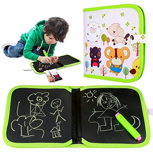 Yosemy Tabla de Dibujo Portátil para Niños, Escribir y Aprender un Juguete Innovador, Colorido Libro de Tiza para la Ropa, Reutilizable, Lavable