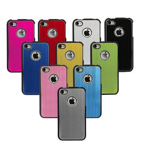 MadCase Apple iPhone 4S / 4 Aluminium Metalle Elegante Pro Case Etui Hülle case mit schwarzen bumper - dunkelblau Hot Pink