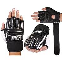Mitones de boxeo, de BOOM, de gel y piel, de color negro, para artes marciales mixtas, pegada en saco, karate, hombre, color negro, tamaño Small