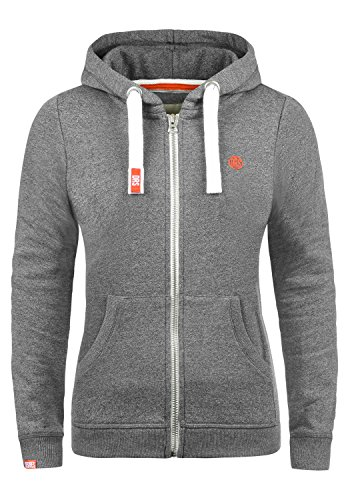 DESIRES BennjaZipHoodie Damen Sweatjacke Kapuzen-Jacke Zip-Hoodie mit Fleece-Innenfutter aus hochwertiger Baumwollmischung, Größe:S, Farbe:Grey Melange (8236) (Jacke Zip Hoody Fleece)