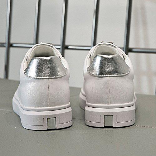 JRenok Chaussure de Sport Femme en Cuir Basket Mode Petite Chaussure Blanche au Printemps Confortable Sneaker 35-39 Argent