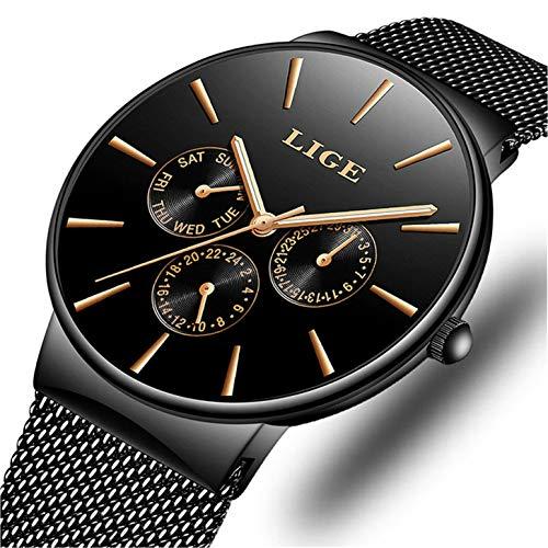 LIGE Herren Uhren Edelstahl Mesh Wasserdicht Sport Analoger Quarz Uhr Herren Geschäft Beiläufig Ultra-Thin Dial Armbanduhr Maenner Schwarze