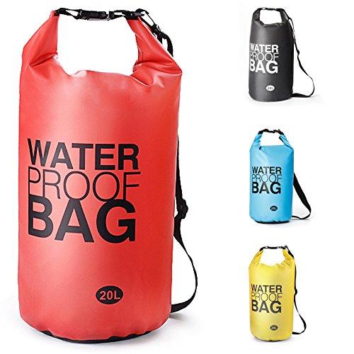Sacca Impermeabili Borsa Waterproof , Borse Impermeabili Dry Bag con Tracolla Regolabile, , per Attività all'Aperto e Sport d'Acqua Nave, Trekking, Kayak, Canoa, Pesca, Rafting, Nuoto, Campeggio, Sci(Rosso, 20L)
