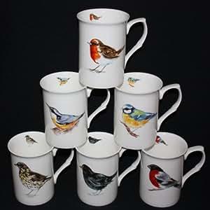 SET OF 6 INDIVIDUAL FINE BONE CHINA BRITISH BIRDS MUGS CUPS GIFT SET