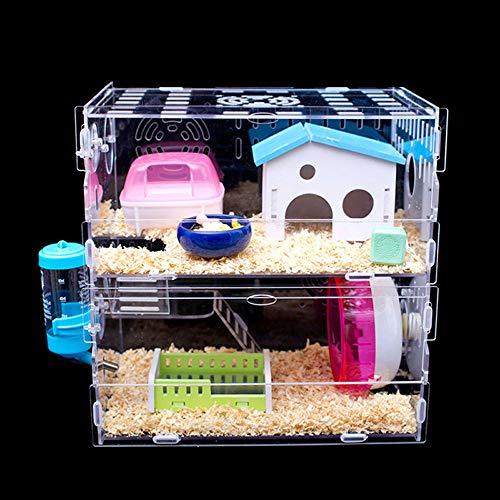 Hianiquaime 1 Satz Luxus Acryl Hamsterkäfig mit Kostenlos Großen Geschenken Mäusekäfig Kleintierkäfig Nagerkäfig Mäuse und Hamster Schloss Käfig Kleine Größe 2 Ebenen