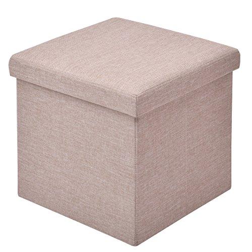 COSTWAY Sitzhocker mit Stauraum, Fußhocker mit abnehmbarem Deckel, Polsterhocker faltbar, Sitzwürfel aus Oxford, Aufbewahrungsbox gepolstert, Sitzbox Farbewahl, Sitzbank 38x38x38cm (Hellbraun)