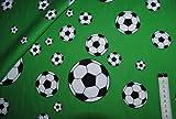 alles-meine.de GmbH 1 m * 1,40 m Stoff - Fußball Stoff - Baumwolle Stoffe - Baumwollstoff Fussball Em grüne Bälle / grün Ball Fußballer