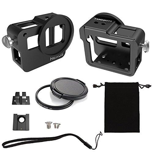 Luxebell für GoPro Hero 7 6 5 Aluminium Legierung Schutzgehäuse Case Set mit rückseitiger Abdeckung, 52mm UV Filter, Halterung und Objektivdeckel