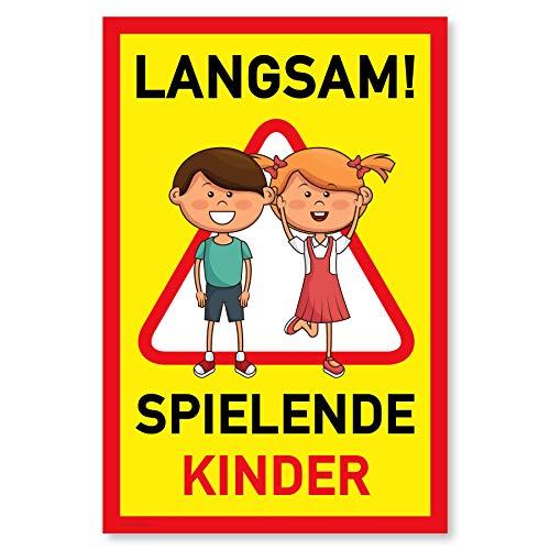 Gentle North Warnschild Achtung spielende Kinder | Vorsicht Hier Spielen Kinder | Bitte langsam Fahren | 20x30 cm Kunststoff Schild
