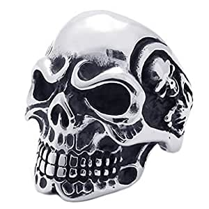 Konov Jewellery Vintage Stainless Steel Gothic Skull Biker Mens Ring, Colour Black Silver, Size M (with Gift Bag)